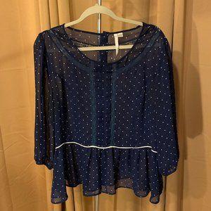 LC Lauren Conrad Blue Polka Dot Sheer Blouse XL